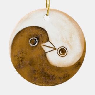 Yin Yang peace doves ceramic decoration Round Ceramic Decoration