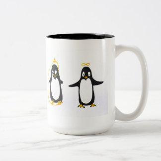 Yin Yang Penguin Two-Tone Coffee Mug