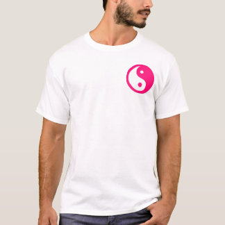 Yin-Yang, pocket, pink & white T-Shirt
