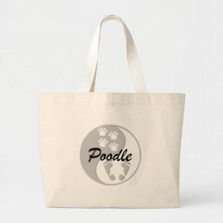 yin yang poodle large tote bag