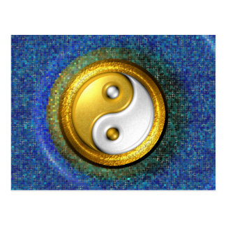 Yin-Yang Postcard, Golden Ring and Blue mosaic Postcard