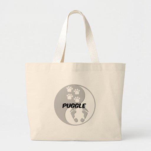 yin yang puggle canvas bags