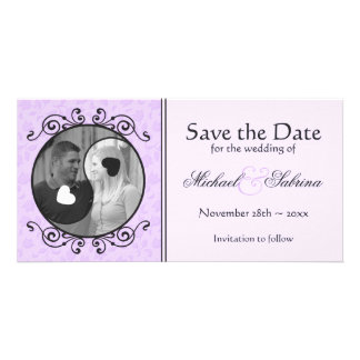 Yin Yang Purple Floral Save the Date Photo Card