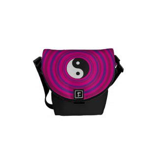 Yin Yang Purple Pink Concentric Circle Pattern Commuter Bags