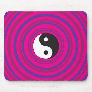 Yin Yang Purple Pink Concentric Circle Pattern Mouse Pad