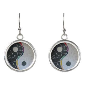 Yin Yang Rainbow Mosaic Earrings