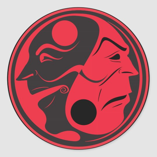 Yin Yang Red Classic Round Sticker