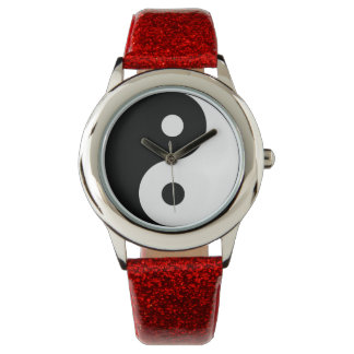 Yin-Yang Red Glitter Strap Watch