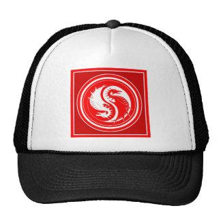 Yin Yang Red Year of the Dragon Trucker Hats