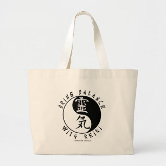 Yin Yang Reiki Kanji Large Tote Bag