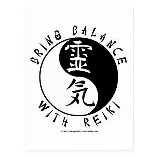 Yin Yang Reiki Kanji Post Cards