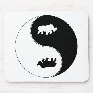 Yin Yang Rhinoceros Mouse Pad