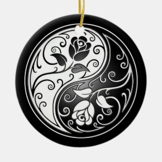 Yin Yang Roses, black Round Ceramic Decoration