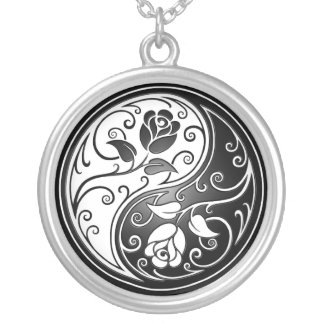 Yin Yang Roses, black Silver Plated Necklace
