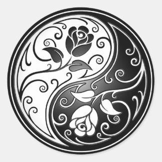 Yin Yang Roses, black Stickers