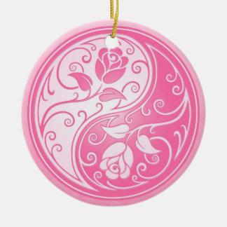Yin Yang Roses, pink Round Ceramic Decoration