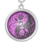 Yin Yang Roses, purple and black Custom Necklace