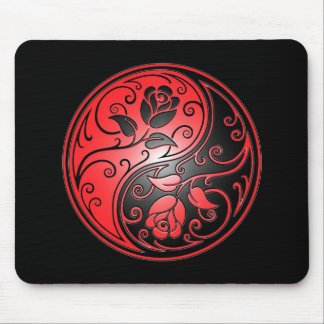 Yin Yang Roses, red and black Mouse Pad