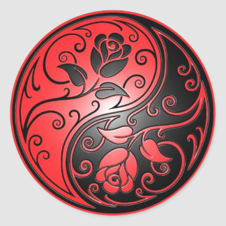 Yin Yang Roses, red and black Round Sticker