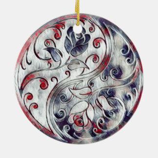 Yin Yang Roses Round Ceramic Decoration