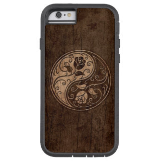 Yin Yang Roses with Wood Grain Effect Tough Xtreme iPhone 6 Case