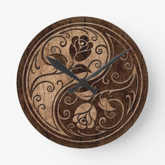 Yin Yang Roses with Wood Grain Effect Round Clock