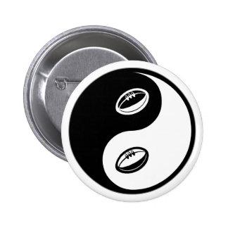 Yin Yang Rugby Button