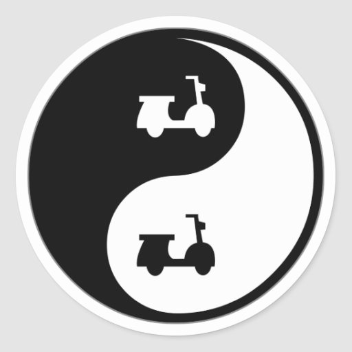 Yin Yang Scooters Classic Round Sticker