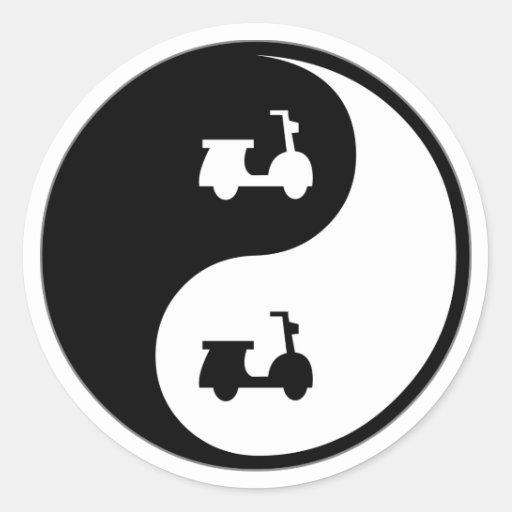 Yin Yang Scooters Classic Round Sticker