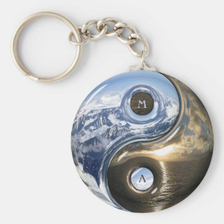 Yin Yang Sea Mountains With Your Monogram Basic Round Button Key Ring
