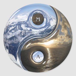 Yin Yang Sea Mountains With Your Monogram Round Sticker