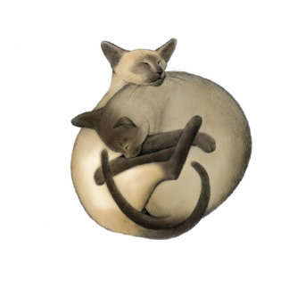 Yin Yang Siamese Cats Holiday Ornament Standing Photo Sculpture