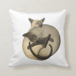 Yin Yang Siamese Cats Pillow