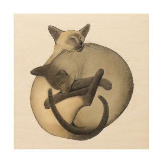 Yin Yang Siamese Cats Wood Wall Art