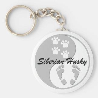 yin yang siberian husky key ring