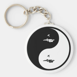 Yin Yang Skydiving Basic Round Button Key Ring