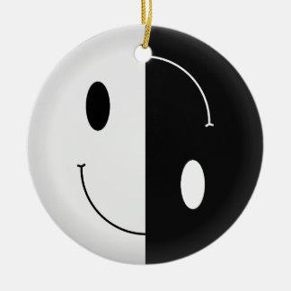 Yin Yang Smiley Christmas Ornament