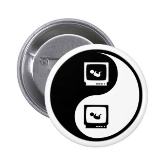 Yin Yang Sonograms 6 Cm Round Badge
