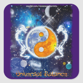 YIN-YANG SPIRIT DRAGONS of Balance & Harmony Square Sticker