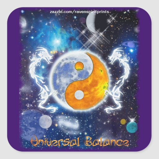 YIN-YANG SPIRIT DRAGONS of Balance & Harmony Stickers