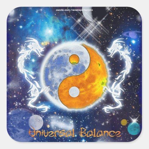 YIN-YANG SPIRIT DRAGONS of Balance & Harmony Square Stickers