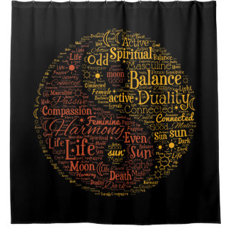 Yin Yang Spiritual Colour Word Art Shower Curtain