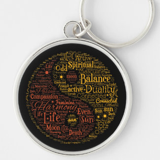 Yin Yang Spiritual Word Art Silver-Colored Round Key Ring