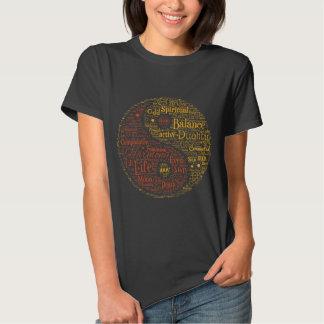 Yin Yang Spiritual Word Art Tee Shirts