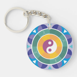 Yin yang spirituality east mandala goodluck charm key ring
