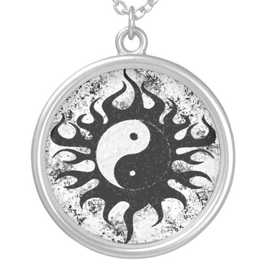 Yin Yang Splatter Silver Plated Necklace