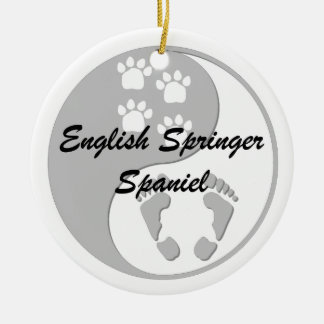 yin yang springer spaniel round ceramic decoration