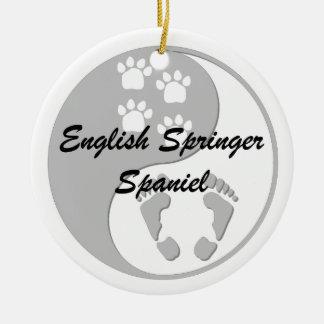 yin yang springer spaniel round ceramic decoration