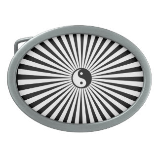 Yin-Yang Sun Wheel-Black/White Belt Buckle