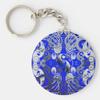 Yin yang symbol basic round button key ring